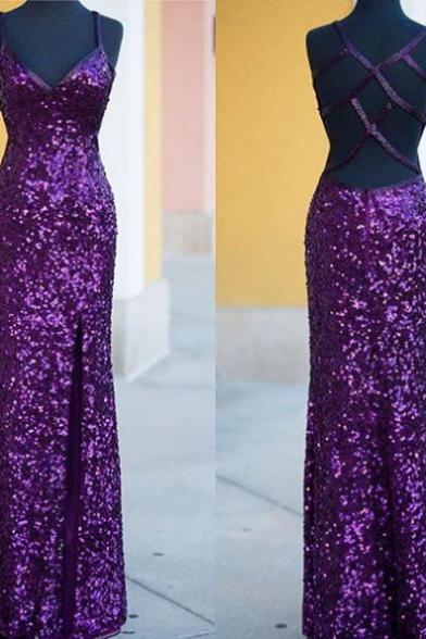 Sleeveless Formal Dress Spaghetti Straps Floor-length Sequined Backless Hot Sale Sheath Dress