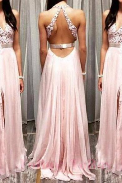 Sleeveless Formal Dress V-Neck Floor-length Applique Backless On Sale A-line Dress