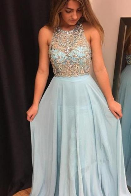 Sleeveless Formal Dress Halter Floor-length Chiffon Beading Zipper Cheap A-line Dress