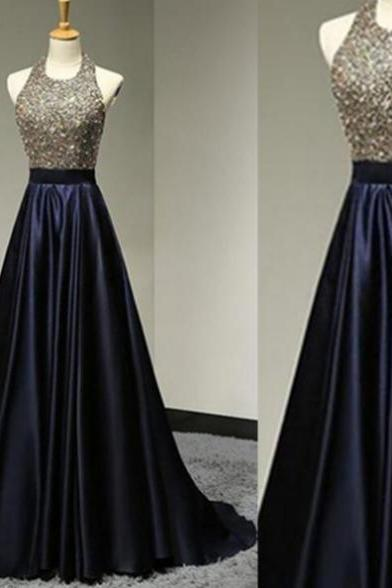 Sleeveless Formal Dress Halter Sweep/Brush Train Satin Beading Backless Hot Sale A-line Dress
