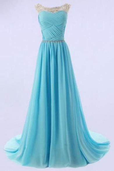Sleeveless Formal Dress Round Sweep/Brush Train Chiffon Beading Zipper Custom Made A-line Dress