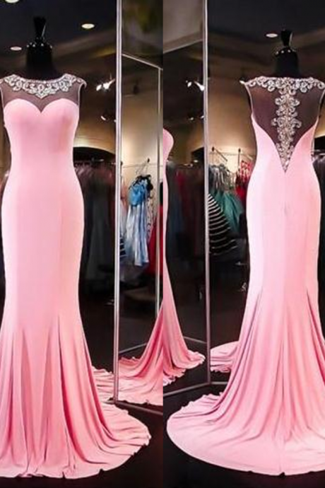 Sleeveless Formal Dress Jewel Floor-length Stretch Satin Beading Zipper Sale Sheath Dress
