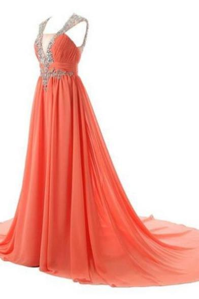 Sleeveless Formal Dress V-Neck Court Train Chiffon Beading Backless Customized A-line Dress