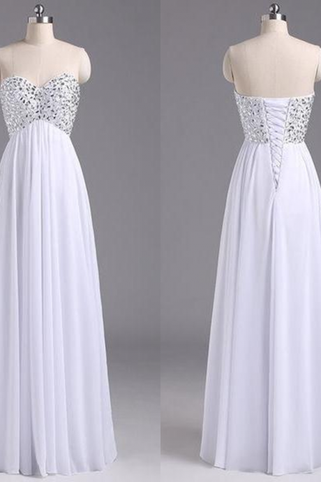 Sleeveless Formal Dress Sweetheart Floor-length Chiffon Beading Lace Up Hot Sale A-line Dress