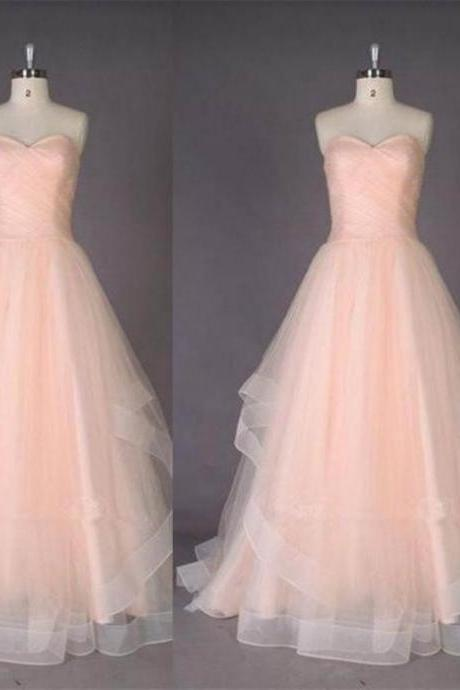 Sleeveless Formal Dress Sweetheart Floor-length Tulle Pleated Discount Ball Gown Dress