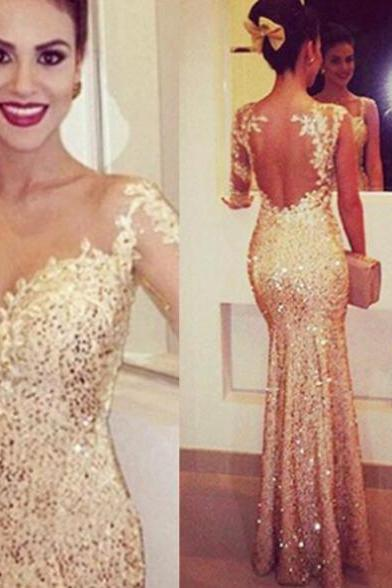 Sleeveless Formal Dress Floor-length Sequins Embroidery Backless Discount Mermaid Dress