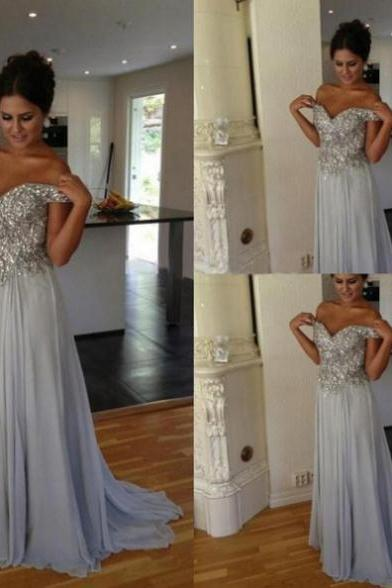 Short Sleeves Formal Dress Off-the-Shoulder Floor-length Chiffon Beading Backless Customized A-line Dress