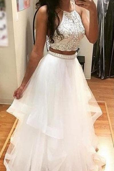 Beading A-line Prom Dress,Tulle Two Pieces Prom Gown,Ball Prom Dresses, White Prom Dress 2017,Prom on Luulla