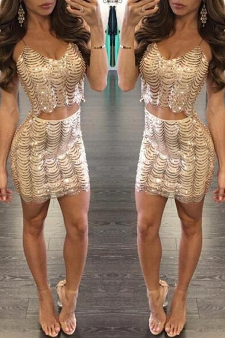 Sexy Two-Piece Spaghetti Straps Homecoming Dress With Sequins on Luulla