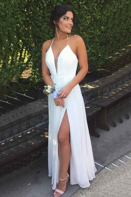 Chic Halter Deep V-neck Split Backless White Chiffon Prom Evening Gowns on Luulla