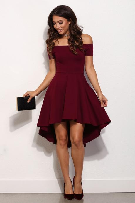 A-Line Off-the-Shoulder High Low Burgundy Satin Homecoming Dress