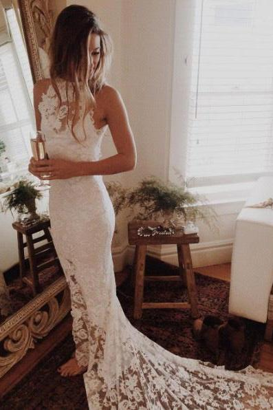 White Wedding Dresses Hollow Wedding Dresses Sleeveless Wedding Dresses