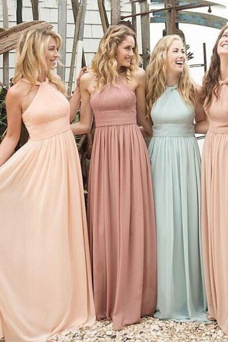 Floor Length Bridesmaid Dresses Sleeveless Bridesmaid Dresses Chiffon Wedding Party Dresses Empire Bridesmaid Dresses