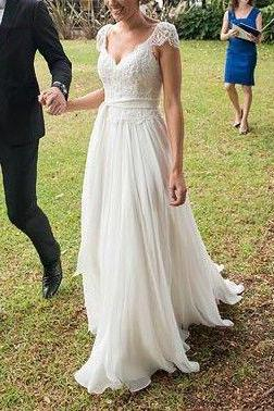 Hollow Wedding Dresses V Neck Wedding Party Dresses Cap Sleeve Wedding Party Dresses Aline Wedding Party Dresses