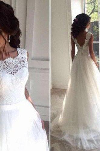 Sweep/Brush Wedding Dresses Sleeveless Wedding Dresses