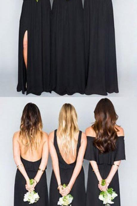 Black Mismatched Long Chiffon Bridesmaid Dress
