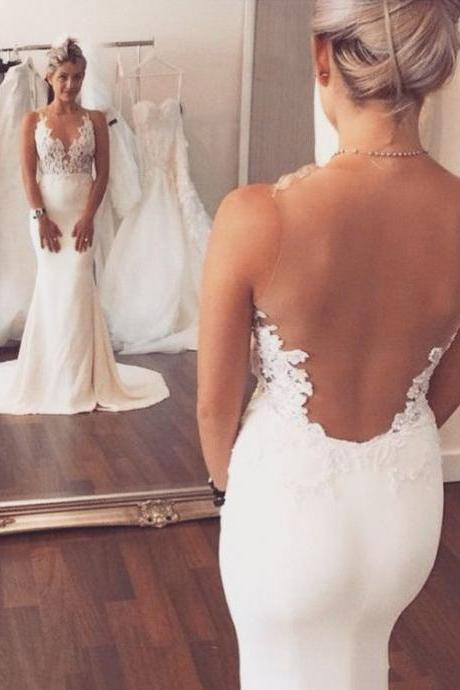 Sleeveless Wedding Dresses Lace Wedding Dresses Trumpet/Mermaid Wedding Dresses Sheer Back Wedding Dresses