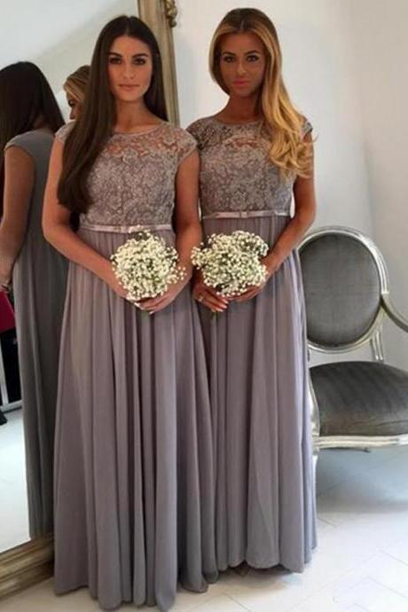 Grey Bridesmaid Dresses A-Line/Column Bridesmaid Dresses Floor Length Bridesmaid Dresses Bateau Bridesmaid Dresses