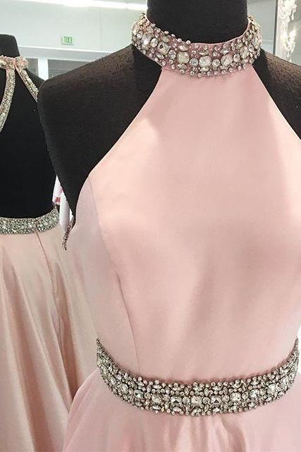 Custom Made Pink Backless Crystal Embellished High Neckline Satin A-Line Prom Dress