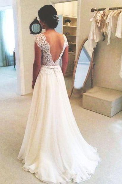 Open Back Wedding Party Dresses Sashes Wedding Dresses Floor Length Wedding Party Dresses Capped Sleeves Wedding Dresses