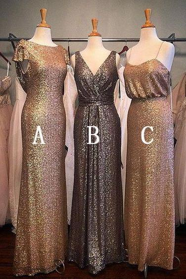 Spaghetti Straps Bridesmaid Dresses Paillette Wedding Dresses Golden Bridesmaid Dresses