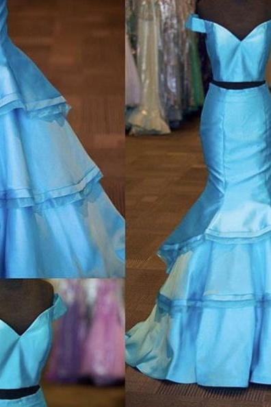 Blue Off-the-Shoulder Mermaid Satin Two Pieces Prom Dresses 2017