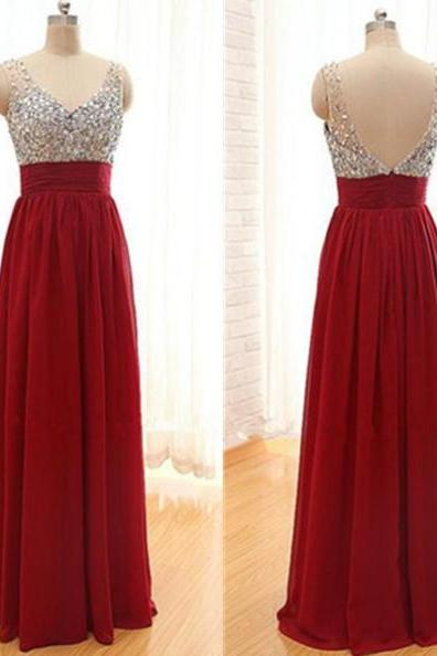 Custom Made Red Shimmery Sequin V- Neck Chiffon Prom Dress