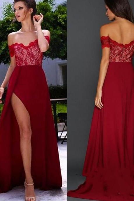 Custom Made Red Off-Shoulder Neck Lace Prom Dress with Scalloped Detailing and High Split