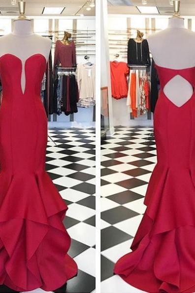 Red Cascading Sweetheart Mermaid Satin Prom Dresses 2017