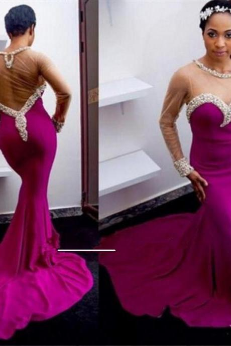 Crystal Detailing Trumpet/Mermaid Stretch Satin Prom Dresses 2017