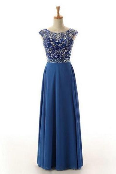 Blue Long A-Line Backless Beading Chiffon Prom Dresses 2017
