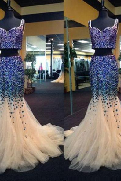 White Two-Piece Floor Length Tulle Mermaid Prom Dress with Blue Sequins