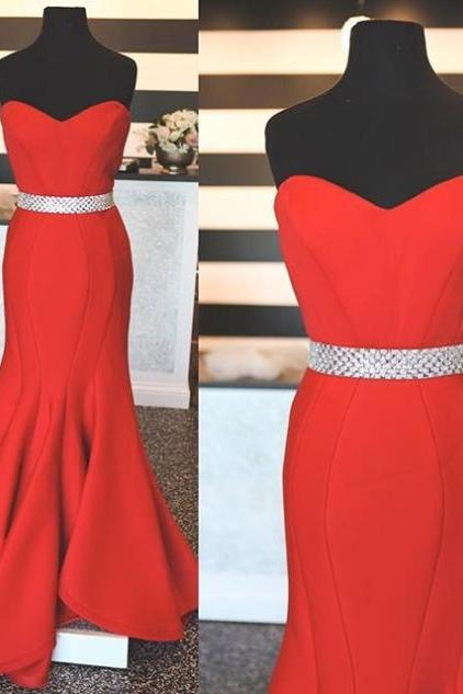Custom Made Red Sweetheart Neckline Mermaid Prom Dress with Crystal Beaded Sash