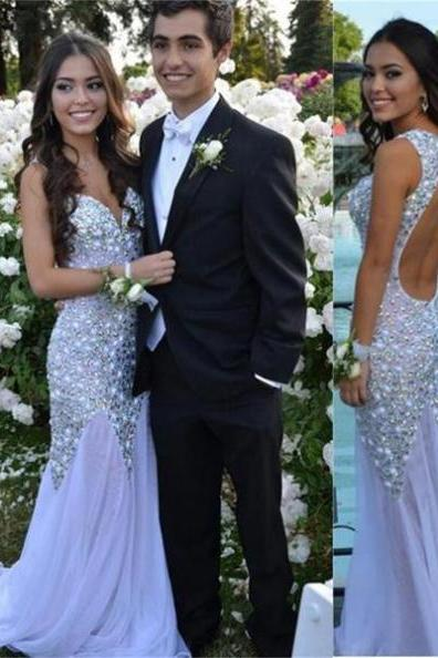 White Long Sparkle Charming Backless Sexy Mermaid Stunning Prom Dresses 2017