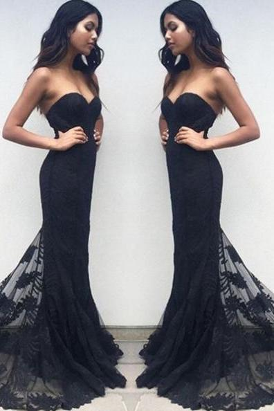 Black Sexy Sweetheart Leaves Lace Prom Dresses 2017
