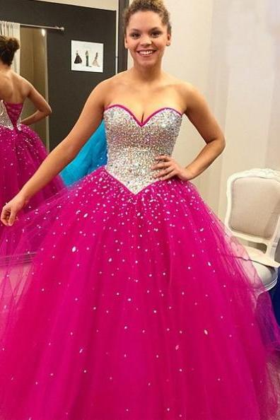 Beading Lace-up Back Ball Gown Tulle Prom Dresses 2017
