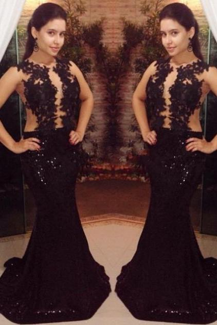 Black Appliques Sweep Train Mermaid Lace Prom Dresses 2017