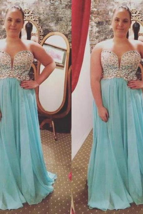 Blue Beading Sweetheart A-line Chiffon Prom Dresses 2017