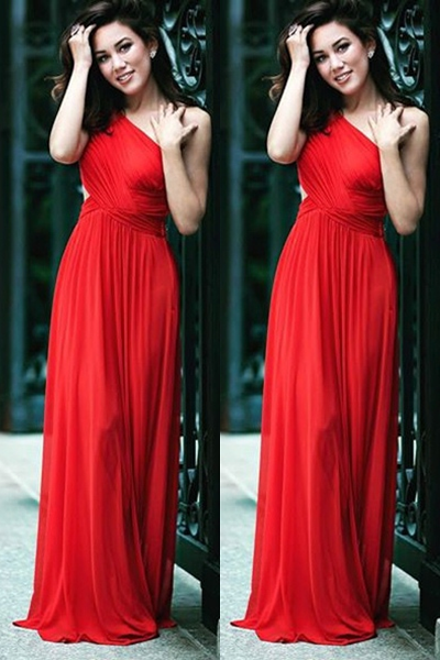 Custom Made Red One- Shoulder Pleated A-Line Prom Dress