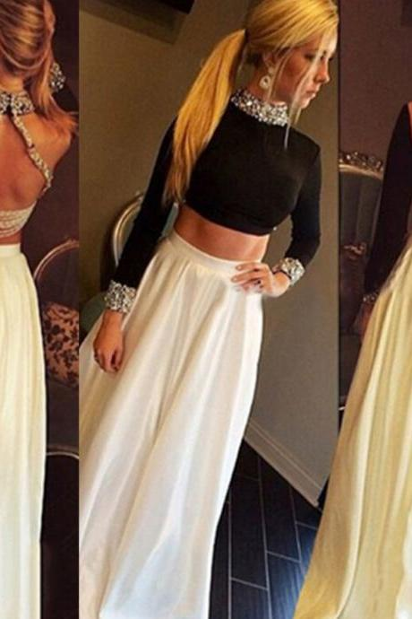 Beading High Neck Long Sleeves Satin Two Pieces Prom Dresses 2017