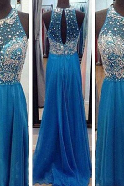 Blue A-Line Halter Sleeveless Floor-Length Chiffon Prom Dresses 2017