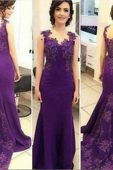 Purple Floor Length Mermaid Prom Dress with Lace Applique and Train