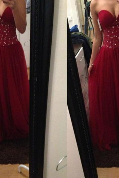 Red Sweetheart Sleeveless A-line Tulle Prom Dresses 2017