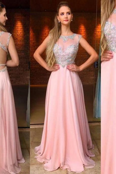 Pink Backless Beading Natural Floor-length A-line Chiffon Prom Dresses 2017