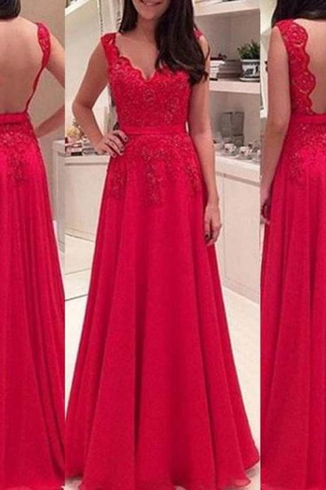 Red Scalloped Neck A-line Chiffon Prom Dresses 2017