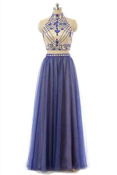 Blue Long A-line Beading High Neck Two Pieces Chiffon Prom Dresses 2017