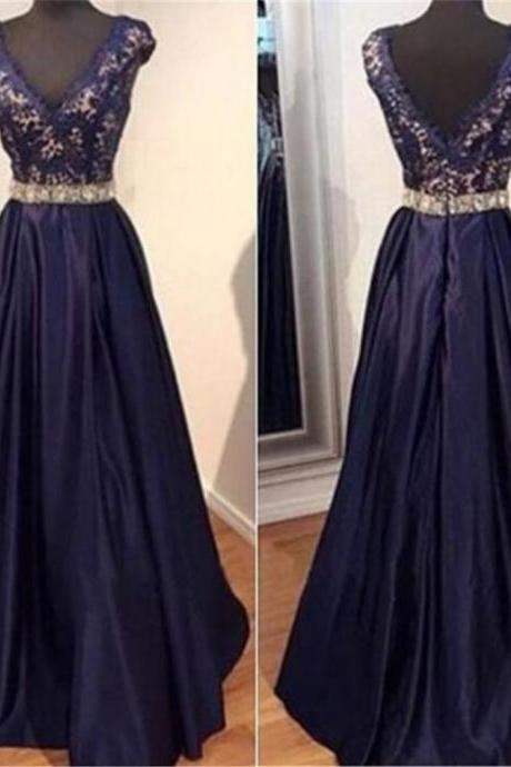 Blue Beading Appliques Floor-length A-line Satin Prom Dresses 2017
