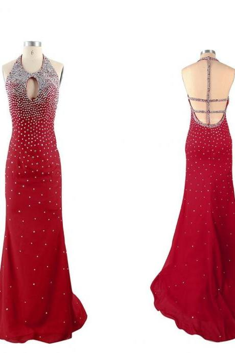 Red Beading Halter Satin Prom Dresses 2017