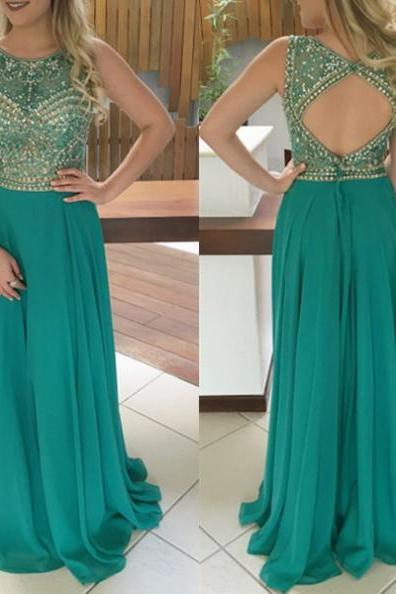 Jewel Natural Sleeveless Beading A-line Chiffon Prom Dresses 2017
