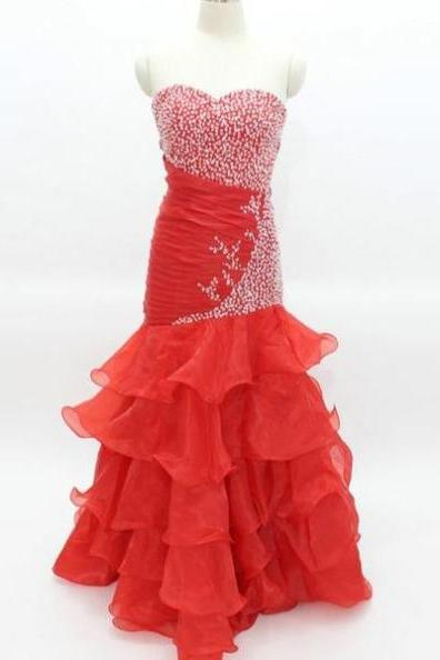 Red Long Trumpet/Mermaid Sweetheart Chiffon Prom Dresses 2017